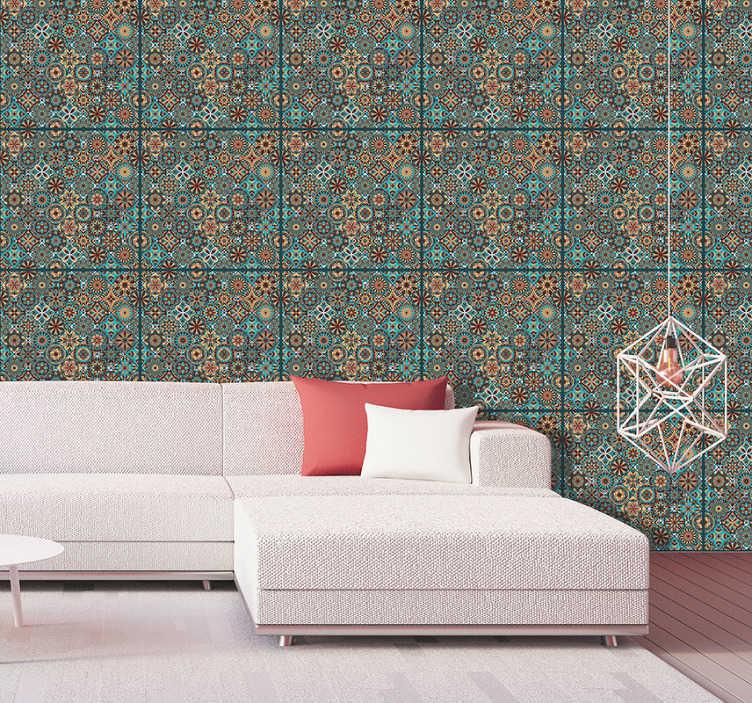 TENSTICKERS. カラフルなモザイクヴィンテージ壁紙. 当たり障りのない活気のない壁に楽しさと色を追加しようとしている場合、この装飾用の壁紙はまさにあなたの人生に必要なものです!