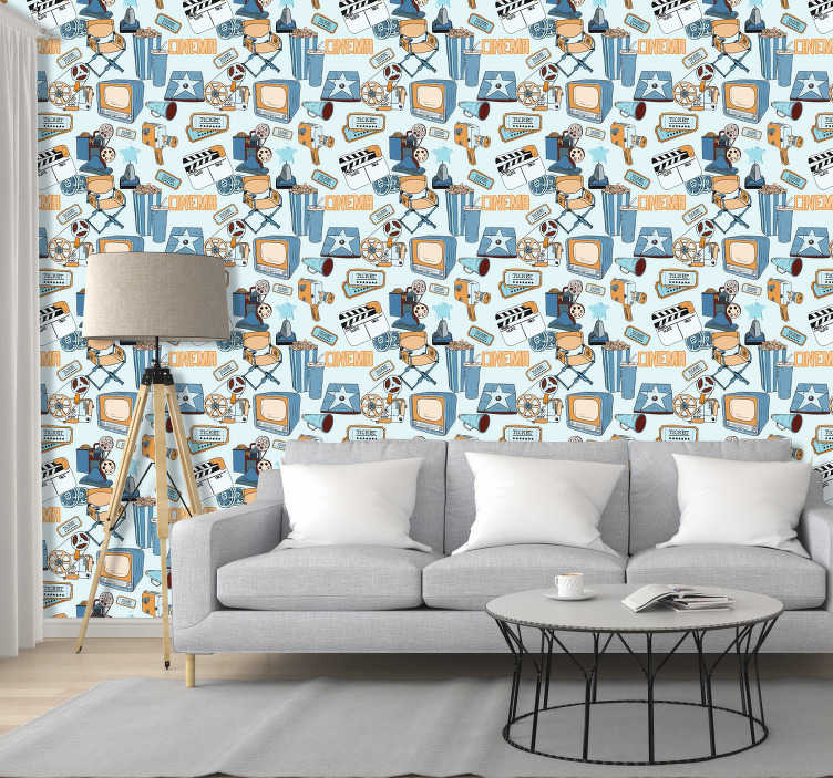 TenStickers. Movie night living room Wallpaper. Coming soon to a wall near you, this epic cinema wallpaper.  If you're looking to decorate your movie viewing room in a unique way then do it with this