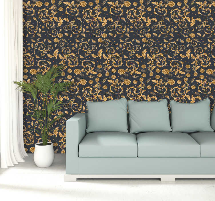 TenStickers. Golden Leaf Vintage Wallpaper. A modern vintage gold leave styled pattern wallpaper to decorate your home.  A special design to create an aesthetic beauty in your home.