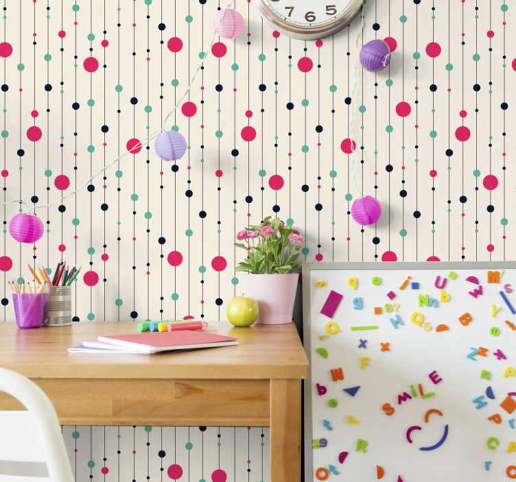 TenStickers. Fun polka dot wallpaper. What a fun pattern! Polka dot wallpapers are always a firm favourite amongst the wide variety of wallpaper designs that are out there