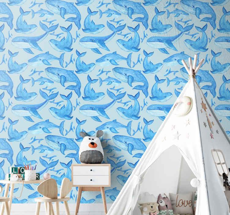 TenStickers. 有组织的鲸鱼酷动物壁纸. 威尔士墙纸的精美印刷品具有模仿深海的蓝色纹理,可在安装的空间上营造出舒适的氛围。