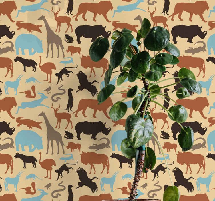 TenStickers. 剪影野生动物园酷动物壁纸. 剪影野生动物园动物壁纸将无聊的孩子房间的墙壁变成一个有趣且更有趣的空间。它易于应用且经久耐用。