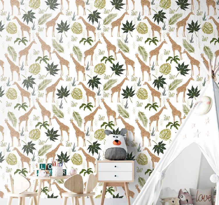 TenStickers. Papier peint chambre Girafes organisées. Adorable papier peint à motifs d'animaux de la forêt pour décorer la chambre des enfants. Beau papier peint pour chambre d'enfants, salle de jeux, etc