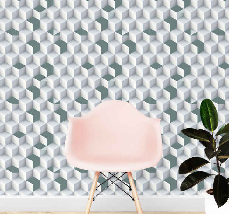 TenStickers. 3D labyrinth of cubical rooms Geometric shape Wallpaper. Get lost in this amazing 3D labyrinth lounge wallpaper. It will look amazing in your dining room, living room, and your bedroom. Bestel nu!