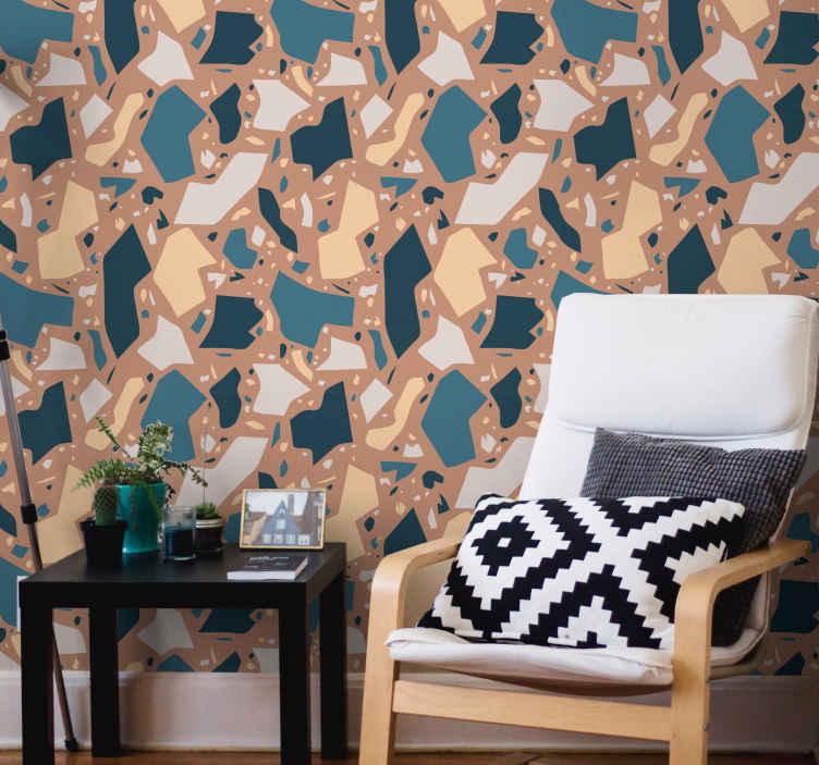 TenStickers. 石材马赛克艺术石材效果壁纸. 这款惊人的石材马赛克艺术乙烯基壁纸为您的房子增添了一些色彩!在您的房子里看起来会很棒!现在下单!