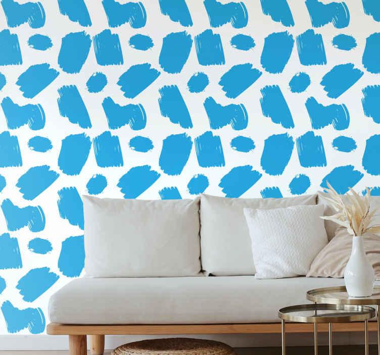 TenStickers. Papier peint arte Pinceaux modernes bleus. égayer votre pièce avec ces étonnants papiers peints artistiques modernes. N'attendez plus pour commander votre nouveau papier peint art déco!