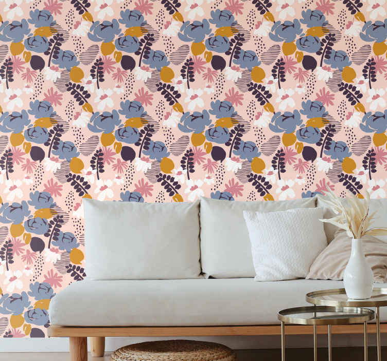 TenStickers. 春天叶子漆叶子壁纸. 我们不是都爱春天吗?这款惊人的乙烯基墙纸设计可让您的房子充满春天的感觉。立即订购!