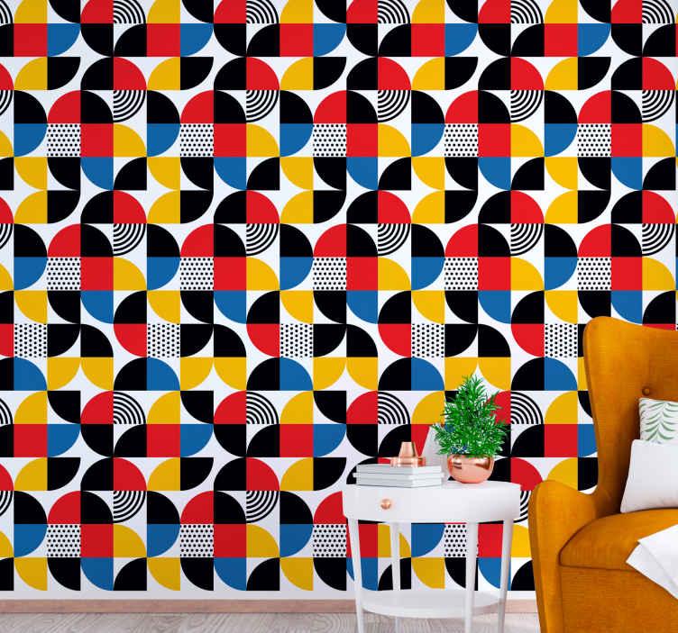 "TenStickers. 抽象的几何形状方形花纹壁纸. 这款""抽象的几何形状""几何壁纸可让您的房子变得有些抽象。不要再等待,现在就订购您的!"
