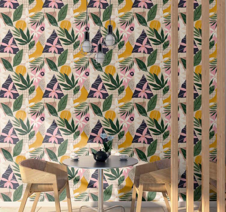 TenStickers. Papier peint fleur moderne Un jardin à la maison. Aimez-vous votre jardin? Ou juste des plantes? Alors ce papier peint nature doit être dans votre maison! Commandez votre papier peint maintenant!