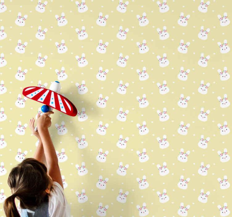 TenStickers. Papier peint chambre Lapins mignons sur fond jaune. Obtenez ce design incroyable maintenant dans la chambre de vos enfants! Ils adoreront absolument ce papier peint de chambre d'enfants.