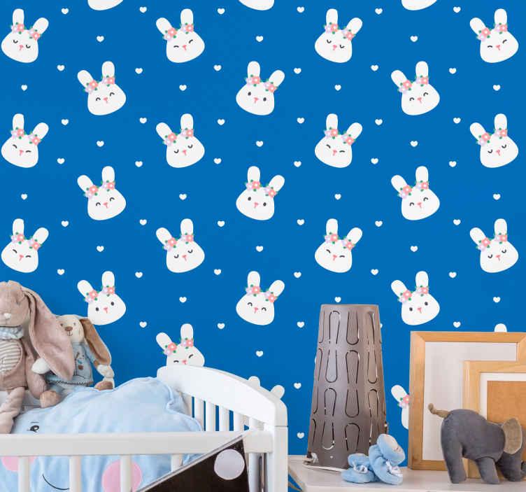 Tenstickers. Söpöjä kaneja sinisellä eläintapetit. Rakastavatko lapsesi kanit. Anna lapsillesi tämä hämmästyttävä kaneja tapetti nyt! Hanki omasi nyt, ja me vietämme sen kaikkialle, mitä kerrot meille!