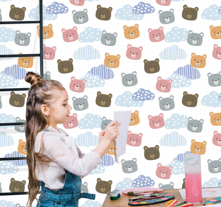 "TenStickers. Minimalistic bear smile  Cool animal wallpaper. Very cute wall Children's Room Wallpaper ""Minimalistic bear smile "". Our products are anti-allergic.