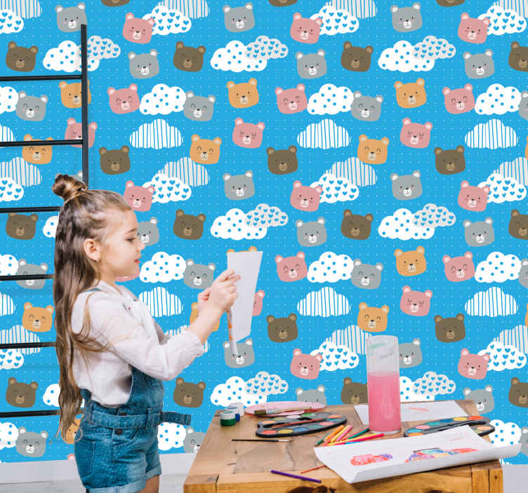 TenStickers. minimalistic bear smile blue background Cool animal wallpaper. Get this amazingly cute animal wallpaper now in your house! You can put it in your baby's room, or in your kids' room! Order today!