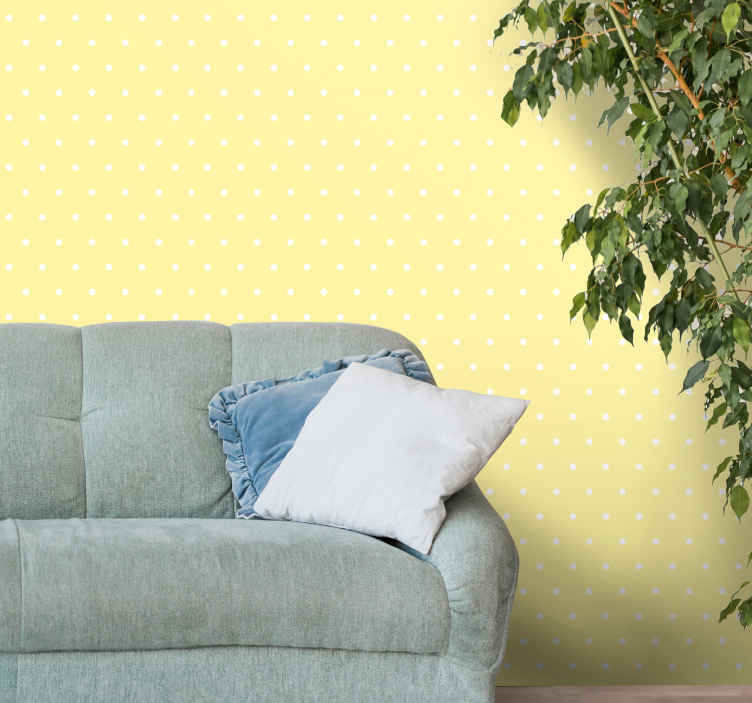 TenStickers. Dots on yellow background circle wallpaper. Yellow background wallpaper with spotty dots. Perfect wallpaper for living room, office, bedroom and other places. No fear of peeling or creasing.
