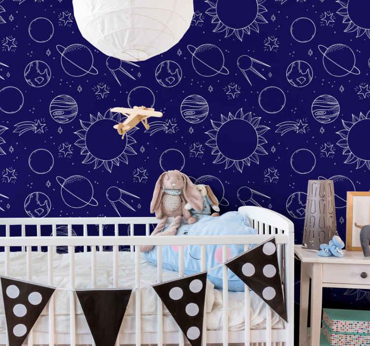 TenStickers. 儿童版深蓝色星空壁纸. 蓝色背景壁纸,上面有星空元素。用于儿童卧室装饰的精美壁纸,可用于装饰游戏室等。