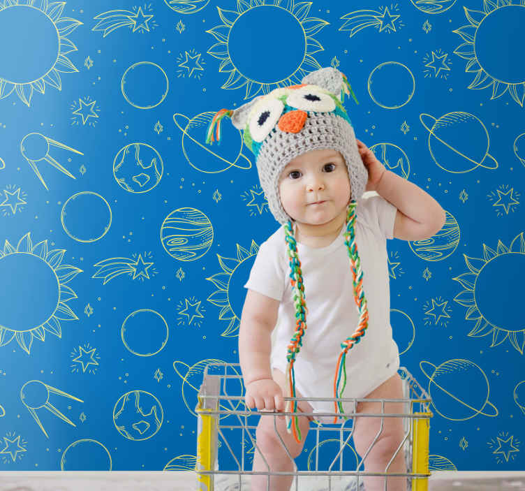 TenStickers. Space in a children version Starry Wallpaper. Children space fantasy wallpaper designed with blue background with illustrations of different space elements. Produced with quality material.