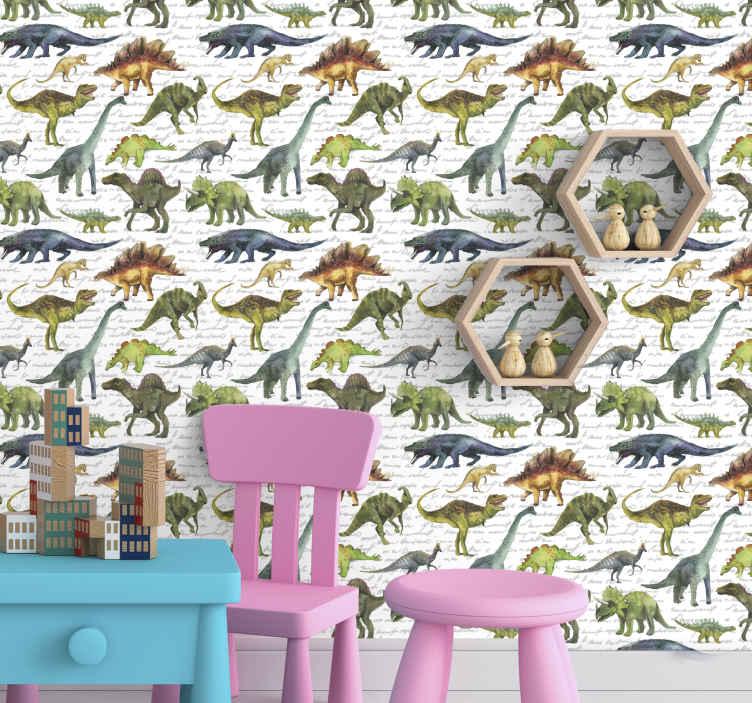 TenStickers. Papier peint chambre fille Dinosaures réalistes. Papier peint de chambre d'enfants avec l'illustration de nombreux dinosaures réalistes dans les couleurs bleu, orange et vert sur fond blanc.