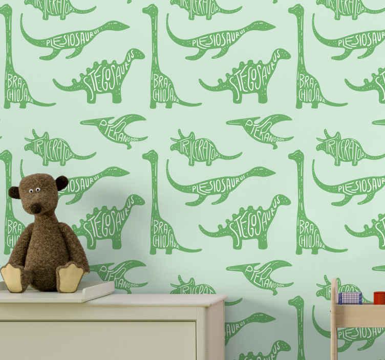 TenVinilo. Papel pared infantil dinosaurios con nombres. Papel pared infantil de dinosaurios con nombre y de color verde para que decores el cuarto de tu hijo de forma original ¡Envío exprés!