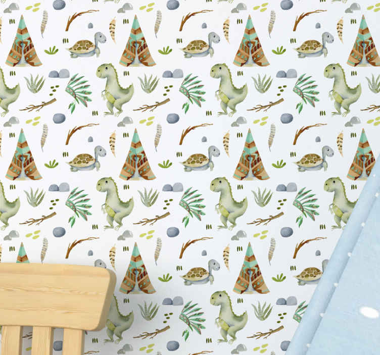 TenStickers. Watercolor dinosaurs Kids Wallpaper. Colorful and pretty illustrative animal prints wallpaper. It design consist of prints of baby dinosaurs in different styles with other illustrations.