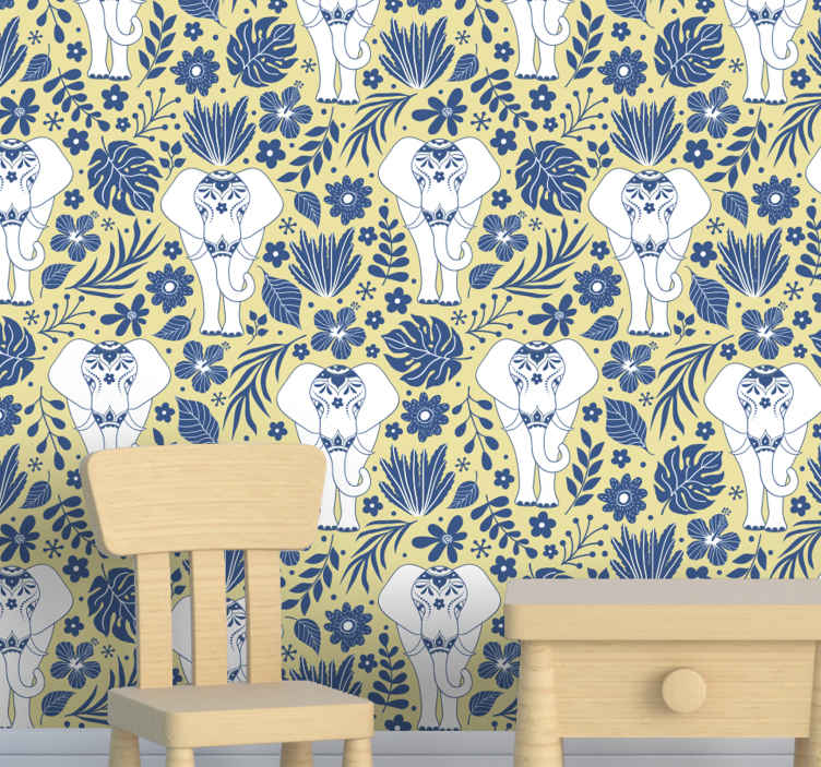 TenStickers. Ornamental white elephants Kids Wallpaper. Really pretty animal wallpaper to customize children space. Featured with different large elephants with ethical design flowers.