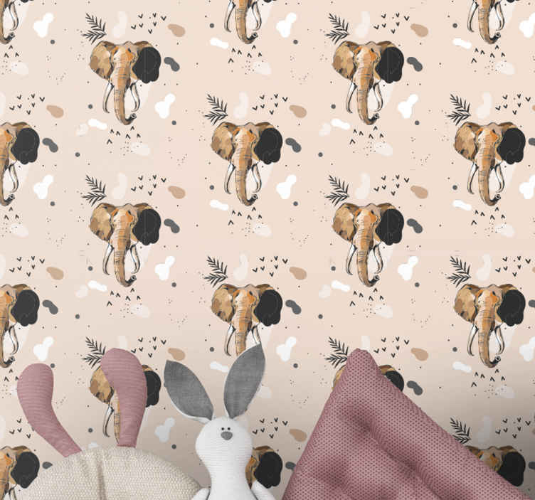 TenStickers. 现实的观赏大象孩子们壁纸. 想象一下,用这种大象动物壁纸设计在儿童房中将创造的氛围。它是原始且耐用的。