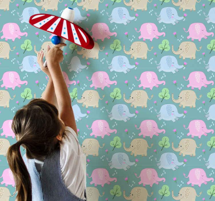 TenVinilo. Papel pintado de animales elefantes con flores. Papel pintado de aniimales para habitación infantil con elefantes con flores coloridos. Elige tus rollos ¡Descuentos disponibles!