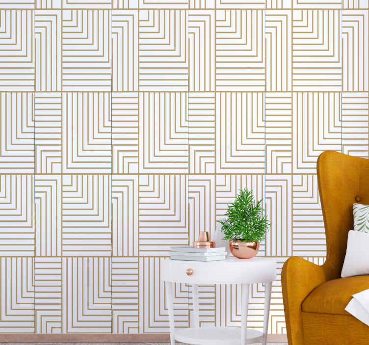 TenStickers. carta parati astratta Geometria bianca e oro. Carta da parati di lusso con l'illustrazione di figure geometriche in colore oro su sfondo bianco che donerà un'atmosfera elegante e classica.