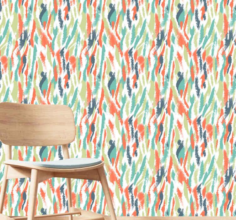 TenStickers. Modern behang Moderne kunstvlekken. Artistiek behang met artistieke illustratie van vele kleuren dat uw kamer zal opvullen met vreugde. Wacht niet langer en bestel nu!