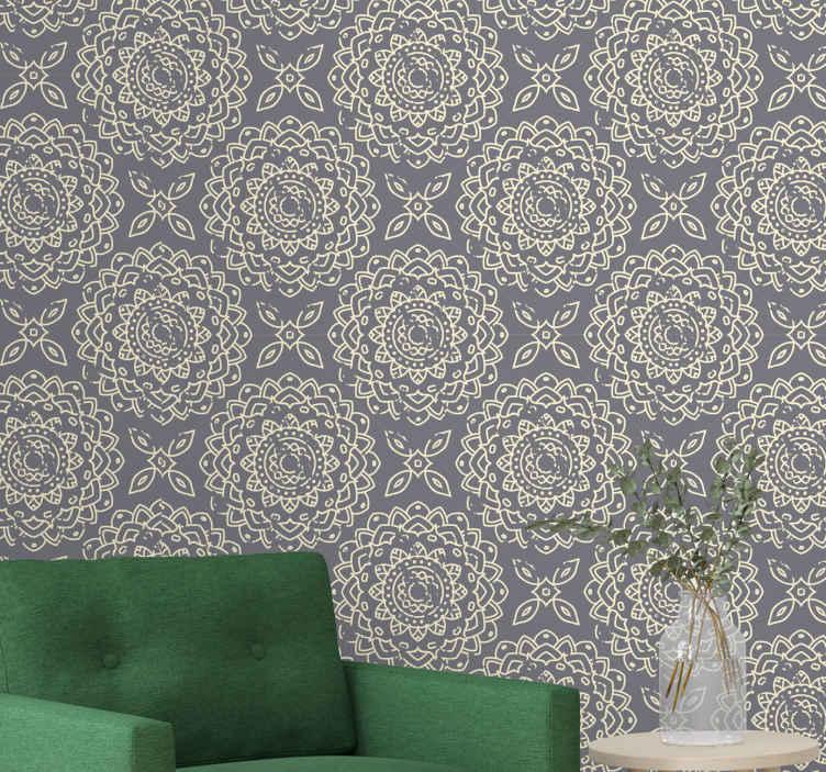TenStickers. Modern behang Grijze moderne ornamenten. Luxe behang heeft de illustratie van decoratieve sierelementen van grijze kleur, ideaal om de muren van uw fantastische huis te versieren. Bestel nu!