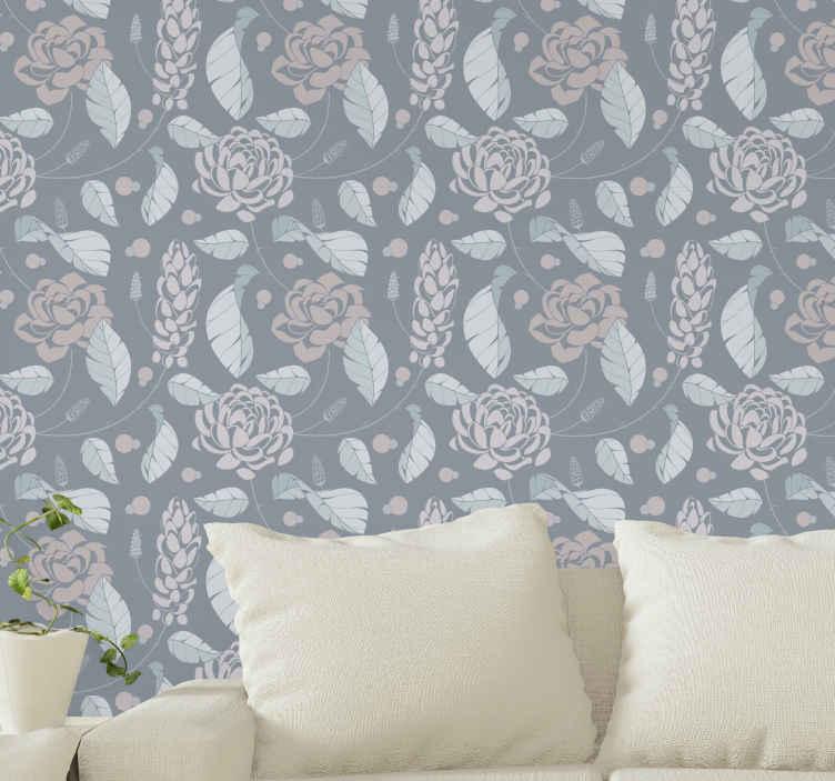 TenStickers. 优雅的花卉饰品花卉壁纸. 绚丽的墙纸设计,以蓝色背景上的典雅观赏花卉为插图,非常适合您始终感受到典雅的氛围。