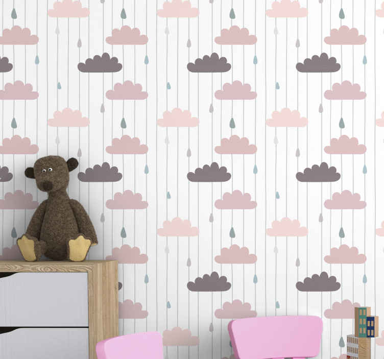 TenStickers. Rózsaszín felhők és esőcseppek gyerekek háttérkép. Gyerek tapéta, amely rózsaszínű és barna színű felhők mintázatát ábrázolja, közöttük esőcseppekkel. Iratkozzon fel 10% kedvezménnyel.