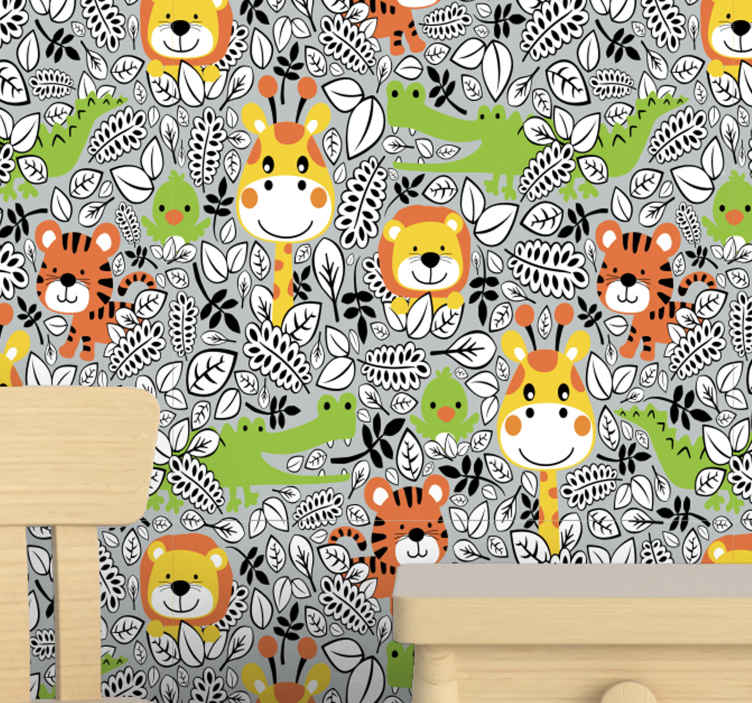 TenStickers. Grey jungle friends Kids Wallpaper. Animal wallpaper which features images of giraffes, tigers, lions and crocodiles on a grey jungle background. High quality.