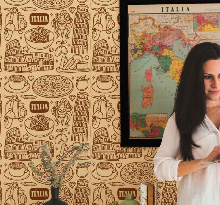 TenStickers. 意大利图标乡村壁纸. 城市壁纸,配以意大利图标,例如古罗马圆形竞技场,比萨斜塔等。以不同的棕色阴影,非常适合您。