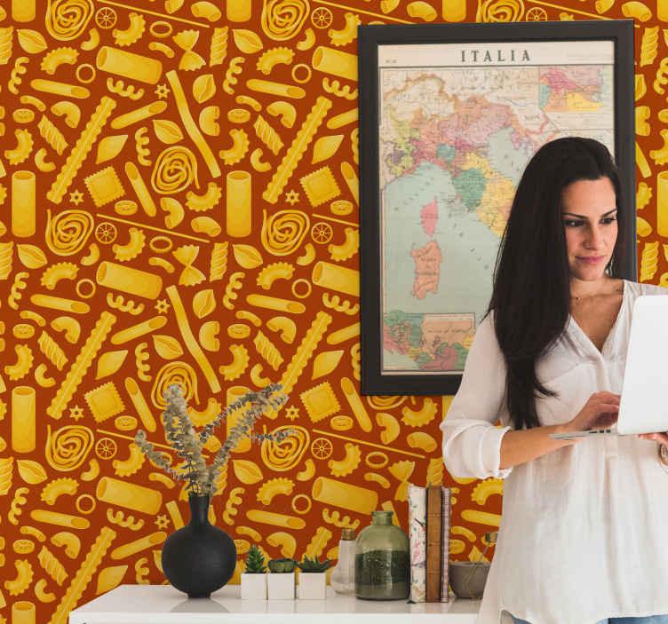 TenStickers. 意大利食品厨房乙烯基壁纸. 厨房墙纸,配以意大利美食和各种意大利面食的插图,您可以使它焕然一新。