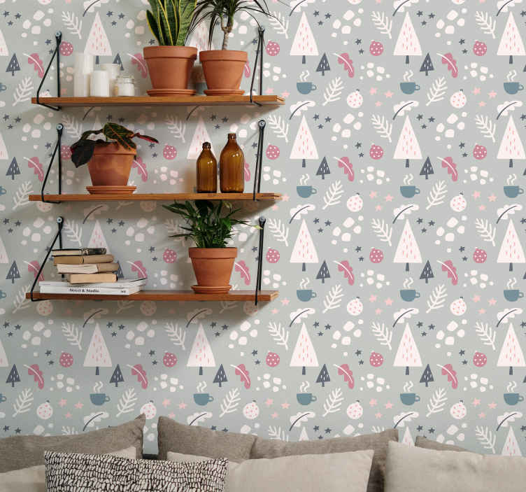 TenStickers. Vliesbehang Kerstbomen behang. Op zoek naar het decoreren van uw huis voor kerst met de aanwezigheid van sierfiguren? Dan is dit het product dat u zoekt! Bestel nu!