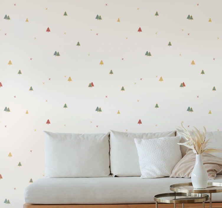 TenStickers. 优雅的圣诞树客厅壁纸. 现代墙纸的这种特殊设计在淡奶油色背景上充满了各种颜色的优雅和小型圣诞树!