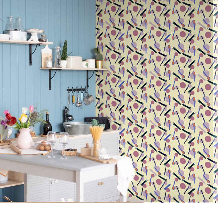 TenStickers. Nowoczesna tapeta do salonu Kolorowe sztućce. Szukasz czegoś, co ozdobi ścianę Twojej kuchni? Odpowiedzią jest nasza tapeta do kuchni z zestawem sztućców. Dostawa do domu!