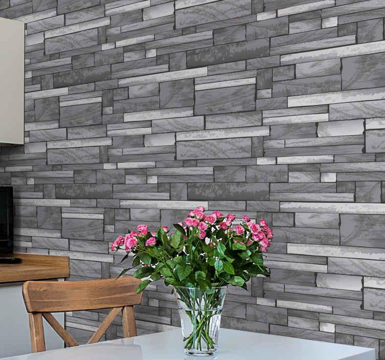 TenStickers. Carta da parati effetto mattoni Modello grigio pietra. Carta da parati realistica in mattoni di pietra grigia: il design è realizzato nello stile di un delizioso assemblaggio di mattoni sul muro.