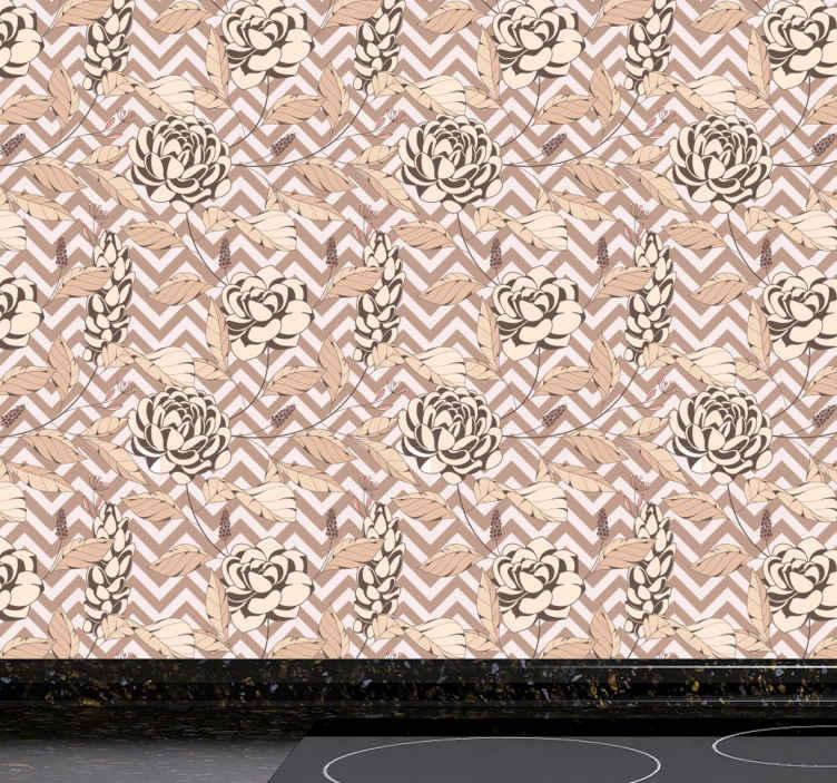 TenStickers. Behang keuken Rozen met bramen. Rozen met bramen keukenbehang - een behang om uw ruimte een vleugje natuur in kleurrijke aandacht te geven. Het is matte afwerking en duurzaam.