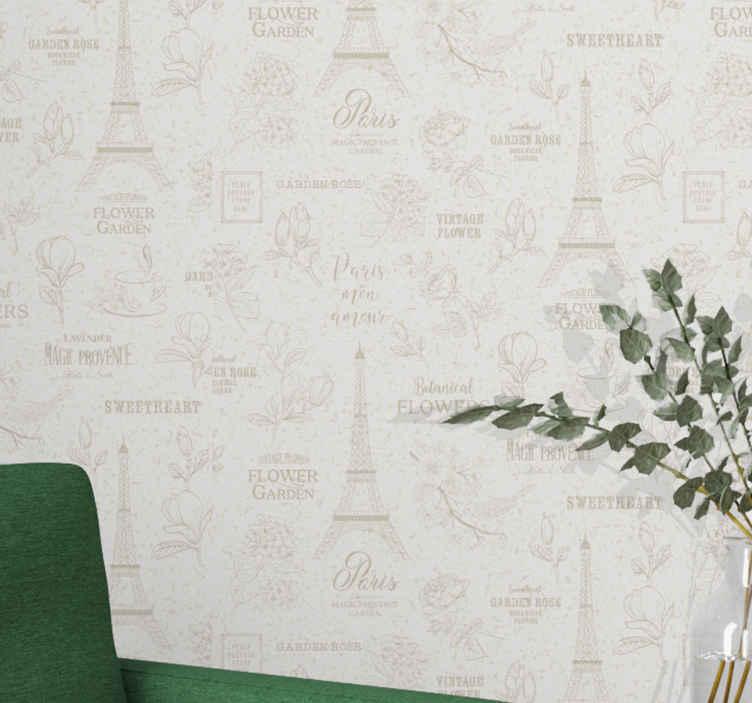 TenStickers. Vintage behang kopen Parijs stijl. Vintage behang in Parijs-stijl - het ontwerp op het behang illustreert de Eiffeltoren in Parijs met bloemen en koffiedrank. Bestel nu!