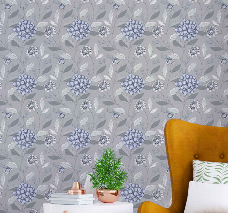 TenStickers. Gray vintage style with plants leaves decal. Gray vintage style with plants leaf decal -  The application is easy and it would lively up any space applied on with an amazing look.