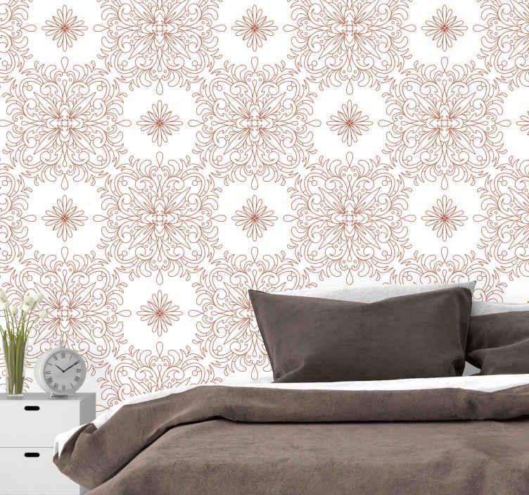 TenStickers. Papier peint retro sticker vintage élégant et doré. Papier peint à sticker vintage élégant et doré - vous aimeriez ce design pour votre salon, chambre à coucher, bureau et espace professionnel.