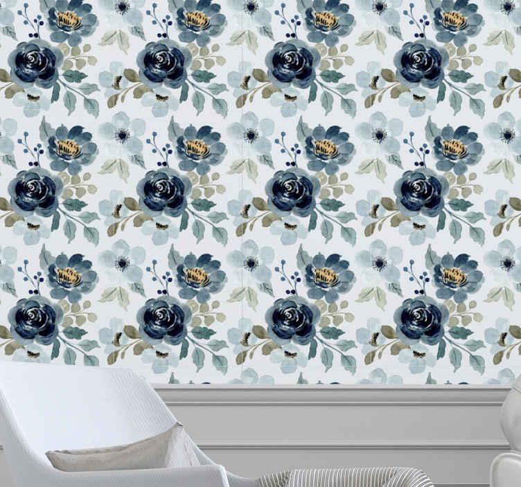 TenStickers. Papier peint fleur moderne sticker vintage floral bleu. Ce papier peint vintage floral laisserait votre espace mural si impressionnant à votre admiration. Il est facile à appliquer et durable.