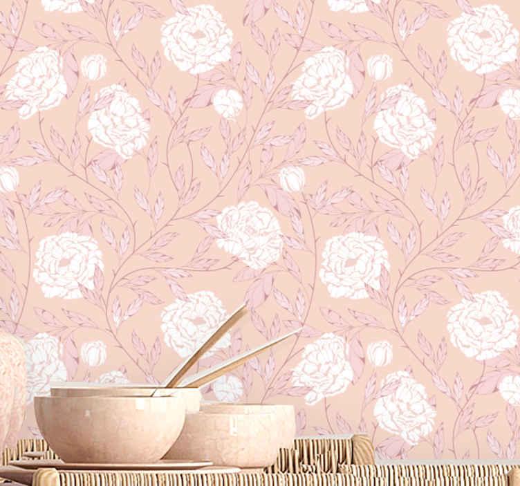 TenStickers. Papier peint retro Style vintage de roses blanches. Papier peint de chambre apaisant avec des roses blanches sur fond rose. Il est fabriqué avec un matériau de haute qualité, facile à appliquer