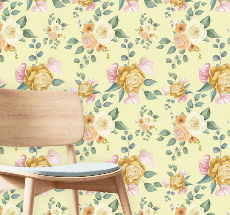 TenStickers. Yellow roses vintage style leaves wallpaper. Pretty vintage  roses with leaf wallpaper - This can be decorated on any space you want to lively up with a brilliant look.