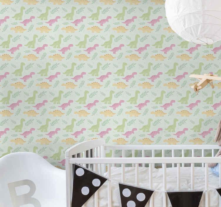 TenVinilo. Papel pared dinosaurios infantiles coloridos. Papel pared dinosaurios para dormitorio infantil para crear un ambiente acogedor e interesante en el cuarto ¡Elige tus rollos!