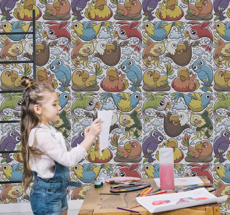 TenVinilo. Papel pared infantil pájaros de dibujos. Papel pared infantil con un colorido diseño de pájaros animados ideal para que decores la habitación de tus hijos de forma original ¡Envío exprés!