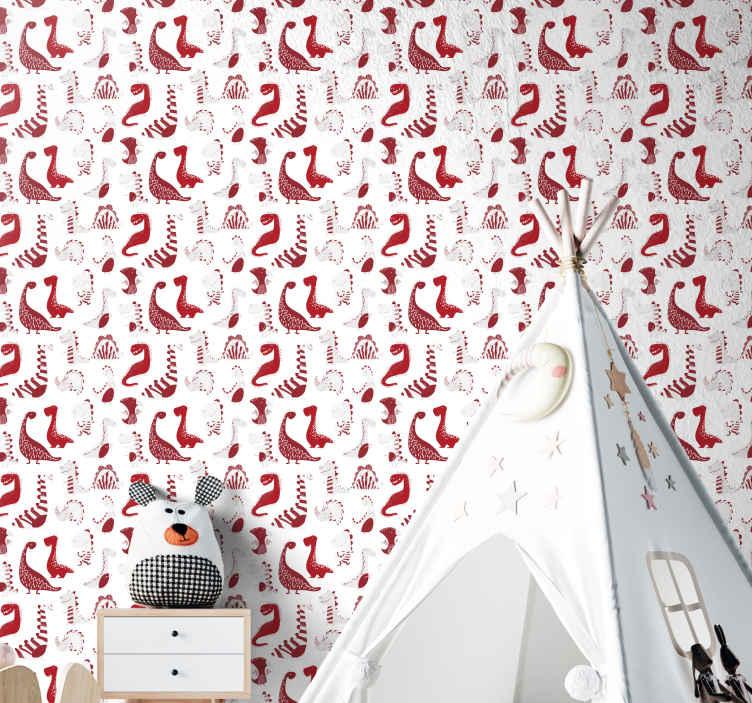 TenStickers. Papier peint chambre fille Croquis de dinosaures rouges. Papier peint pour enfants avec l'illustration de dinosaures rouges et des croquis pour renouveler l'environnement avec les murs de la chambre