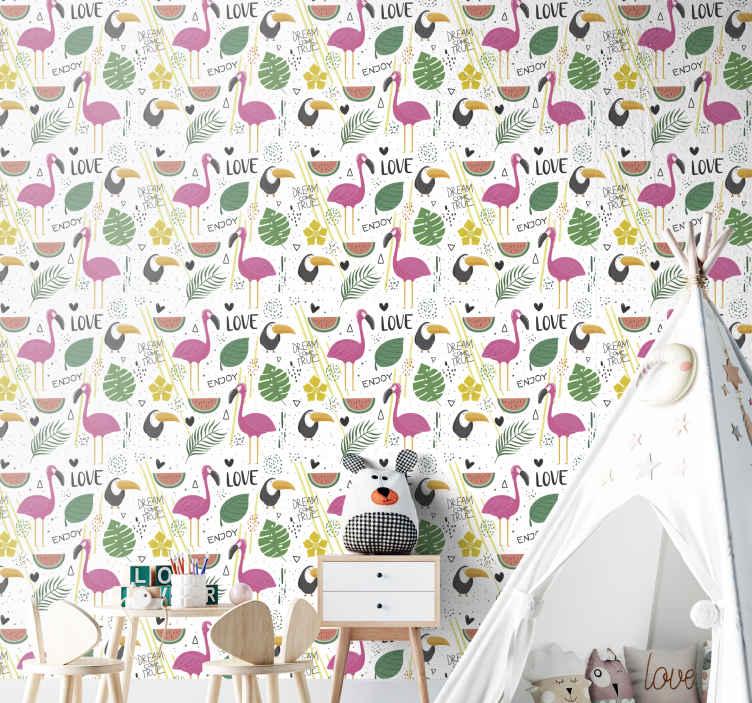 TenStickers. Papier peint chambre fille Perroquets et flamants roses. papier peint de chambre d'enfants avec l'illustration de flamants roses et de perroquets entourés de fruits et d'autres éléments tropicaux