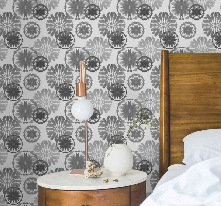 TenStickers. 灰色彩绘错觉当代壁纸. 灰色彩绘错觉现代墙纸,使您的家居装饰更加出色。由优质材料制成,防水耐用。